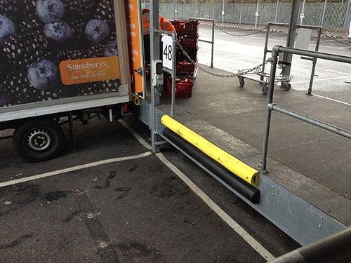 D Profile fitted to a loading bay wall
